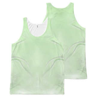Two Tulips Flower Abstract in Green All-Over Print Singlet