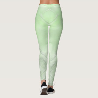 Two Tulips Flower Abstract in Green Leggings