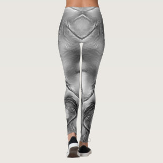 Two Tulips Flower Abstract in Grey Leggings