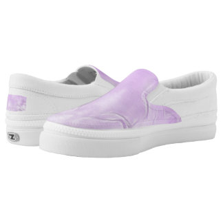 Two Tulips Flower Abstract in Lavender Slip-On Shoes