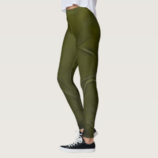 Two Tulips Flower Abstract in Olive Green Leggings