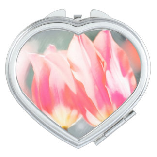 Two Tulips Flower Sketch in Pink Vanity Mirrors