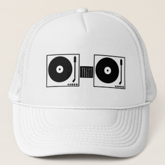 Two turntables but no microphone trucker hat