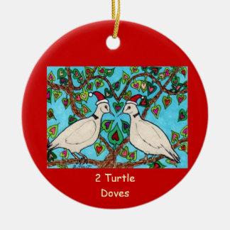 Two Turtle Doves Ceramic Ornament