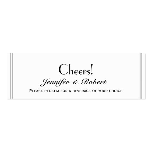 Two Tuxedo Groom Gay Wedding Drink Tickets Business Cards
