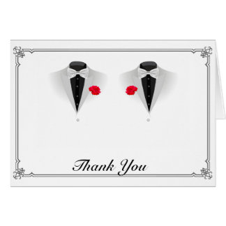 Two Tuxedos on White Gay Wedding Thank You Card