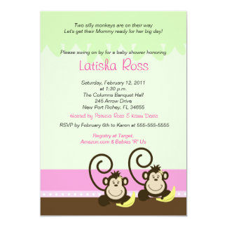 Two twin Silly Monkeys Girls Baby Shower 5x7 Card