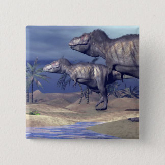 Two tyrannosaurus dinosaurs 15 cm square badge