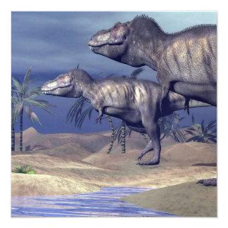 Two tyrannosaurus dinosaurs card