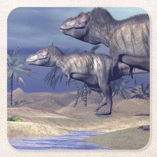 Two tyrannosaurus dinosaurs square paper coaster