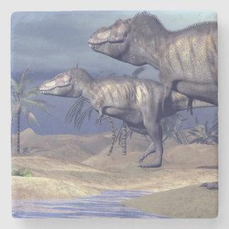 Two tyrannosaurus dinosaurs stone coaster