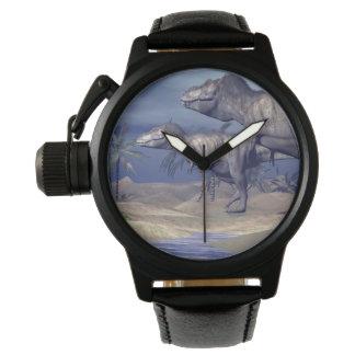 Two tyrannosaurus dinosaurs wrist watches
