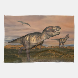 Two tyrannosaurus rex dinosaurs walking with ptera tea towel