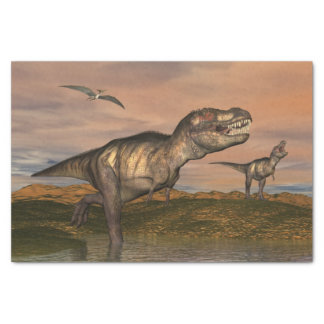 Two tyrannosaurus rex dinosaurs walking with ptera tissue paper