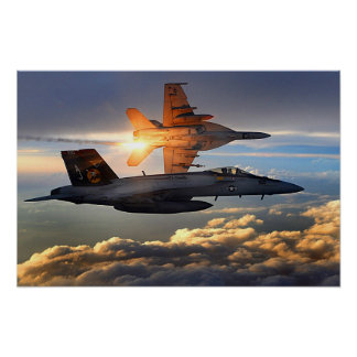 Two U S Navy F A-18 Super Hornets Poster