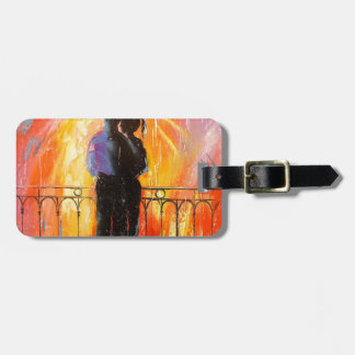 Two under an umbrella luggage tag