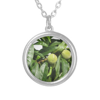 Two unripe green peaches hanging on a peach tree silver plated necklace