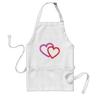 two valentine hearts love amor aprons