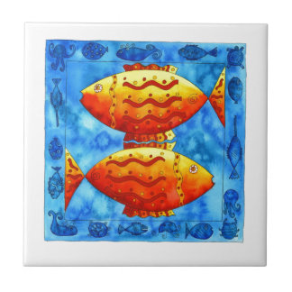 Two Vibrant Goldfish Ceramic Tile