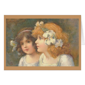 Two Victorian Girls Card
