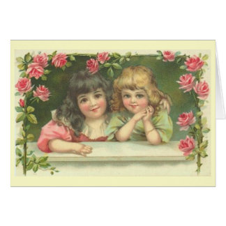 Two Victorian Girls in a Rose Garden Card