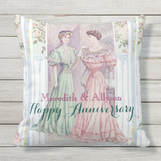 Two Victorian Ladies Fancy Fashionable Gowns Pink Outdoor Cushion