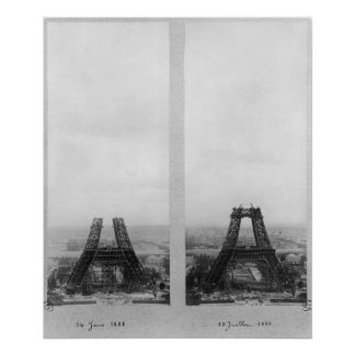 Two views of the construction of the Eiffel Print