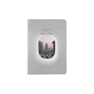 Two views window plane, city and landscape passport holder