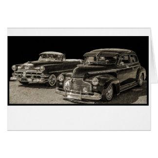 Two Vintage ClassicChevy Chevrolet Automobiles Card