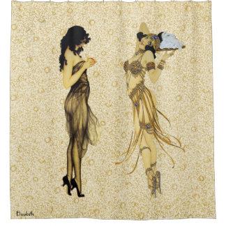Two Vintage Retro Ladies Art Nouveau Floral Style Shower Curtain