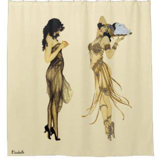 Two Vintage Retro Ladies Art Nouveau Style Shower Curtain