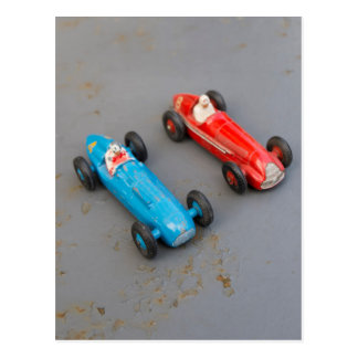 Two vintage toy cars postcard