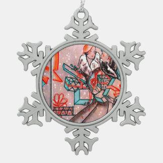 Two vintage women Christmas Shopping Pewter Snowflake Decoration