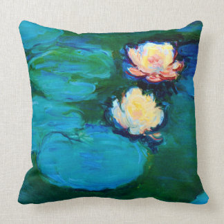 Two Water Lily Flowers Claude Monet Fine Art Cushion
