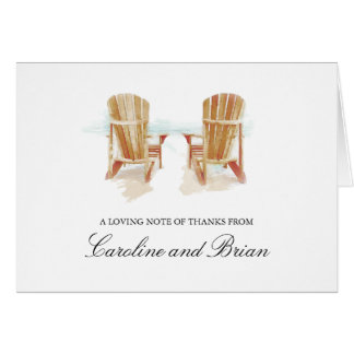 Two Watercolor Adirondack Beach Chairs Card