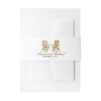 Two Watercolor Adirondack Beach Chairs | Wedding Invitation Belly Band