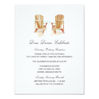 Two Watercolor Adirondack Chairs Wedding 11 Cm X 14 Cm Invitation Card