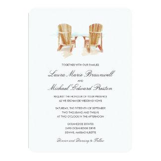 Two Watercolor Adirondack Chairs Wedding 13 Cm X 18 Cm Invitation Card