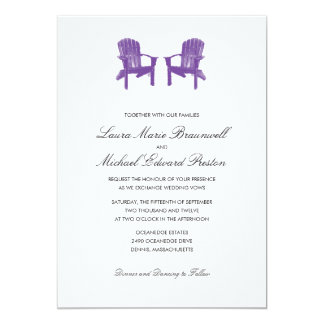 Two Watercolor Adirondack Chairs Wedding 13 Cm X 18 Cm Invitation Card