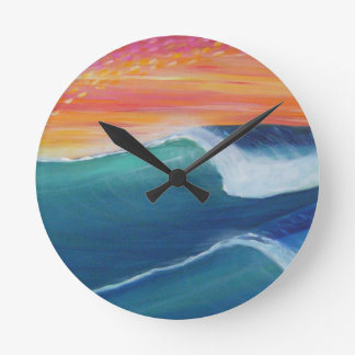 Two waves orange sky wall clocks