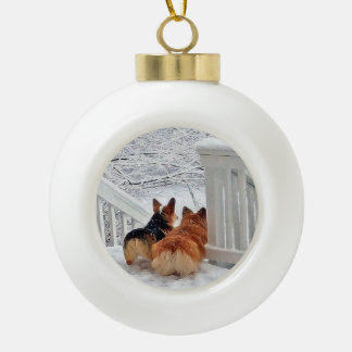 Two Welsh Corgis in the Snow Ornament