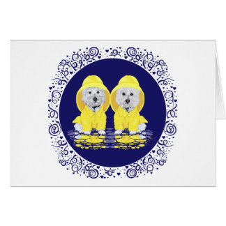 Two Westies April Showers Greeting Card