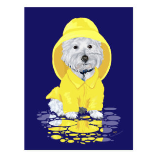 Two Westies April Showers Post Card