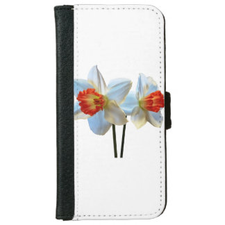 Two White And Orange Daffodils iPhone 6 Wallet Case