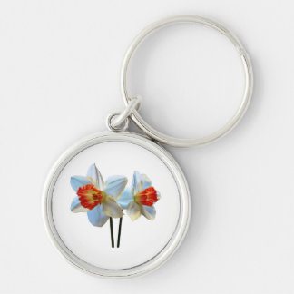 Two White And Orange Daffodils Key Ring