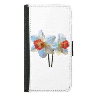 Two White And Orange Daffodils Samsung Galaxy S5 Wallet Case