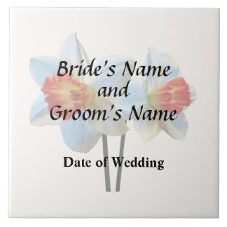 Two White And Orange Daffodils Wedding Supplies Tile