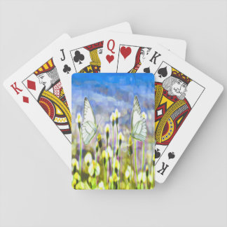 Two White Butterflies in a Meadow Yellow Flowers Playing Cards