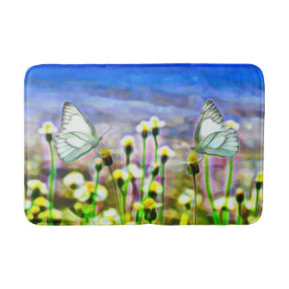 Two White Butterflies in a Yellow Flower Meadow Bath Mat