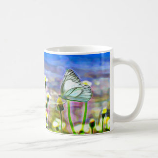 Two White Butterflies in a Yellow Flower Meadow Coffee Mug